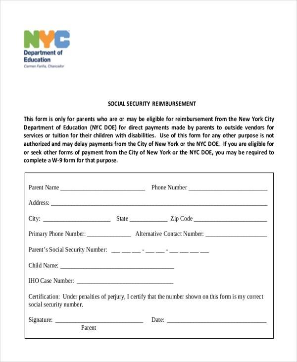 Sample Social Security Form - 16+ Free Documents in PDF - social security form