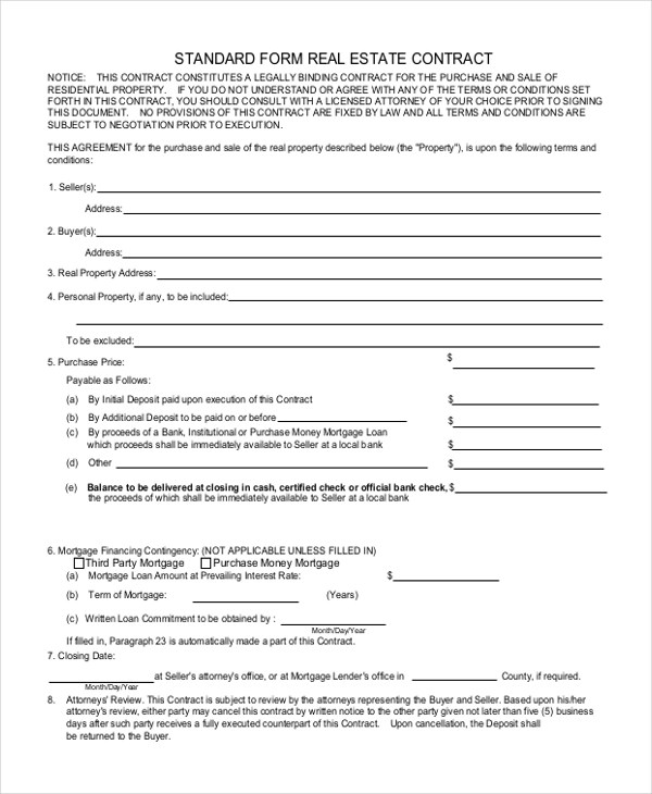 Sample Real Estate Form - 10+ Free Documents in Doc, PDF - mortgage contract template