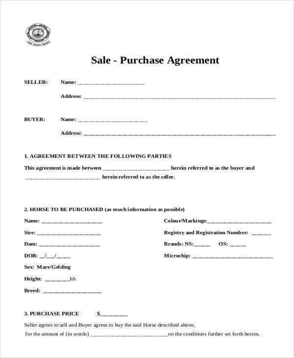 Sample Sales Agreement Form - 10+ Free documents in Doc, PDF