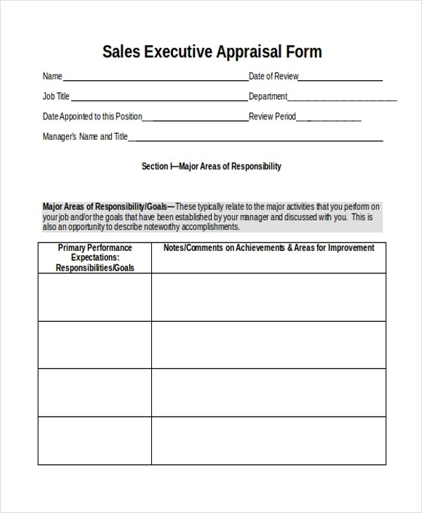 Sample Sales Appraisal Form - 7+ Free Documents in PDF, Doc