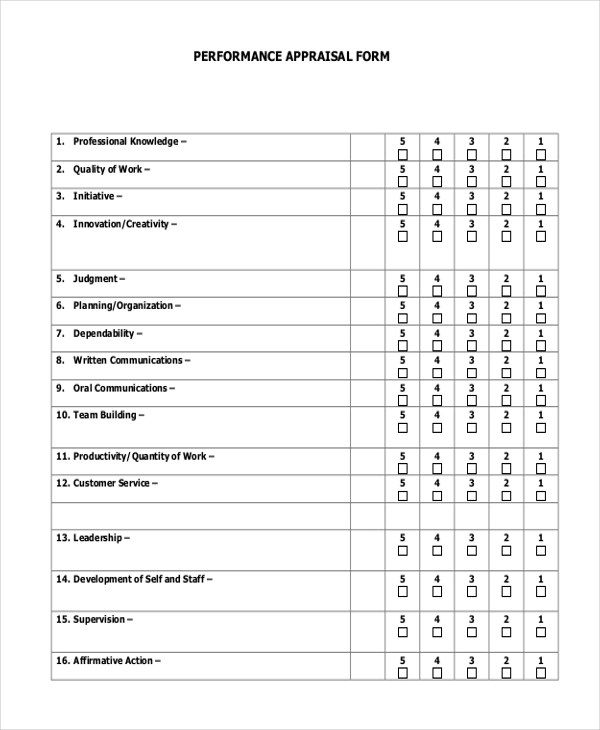 Appraisal Form Example 14 Job Performance Evaluation Form Nursery - job performance evaluation form templates