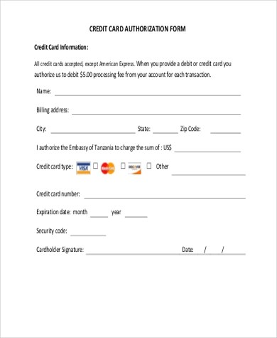 Credit Card Authorization Form Samples - 10+ Free Documents in Word, PDF - authorization to use credit card