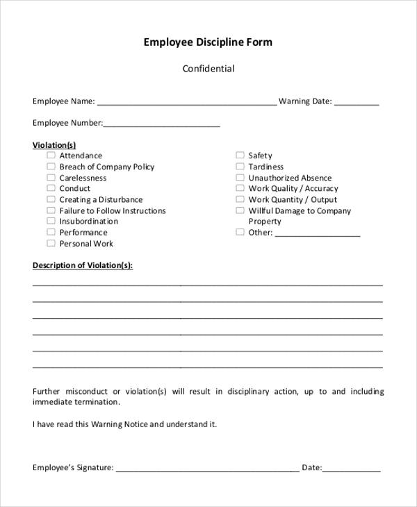 Sample Employee Discipline Forms - 7+ Free Documents in PDF - employee discipline form