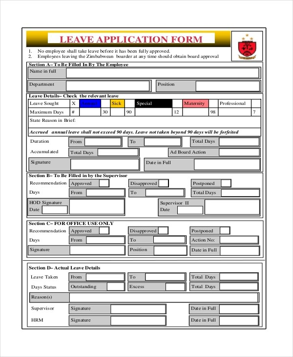 Leave Application Form For Office Nfgaccountability  - format of leave application form