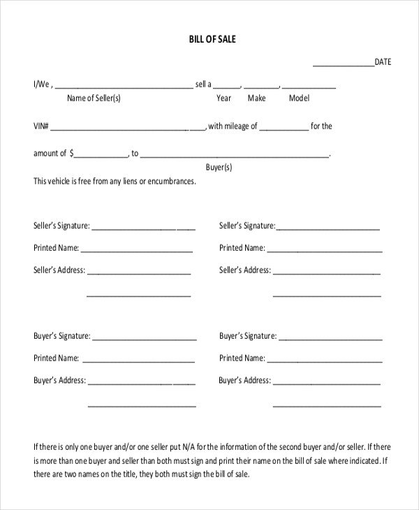 Sample Motorcycle Bill of Sale Form - 7+ Free Documents in Doc, PDF - motorcycle bill of sale