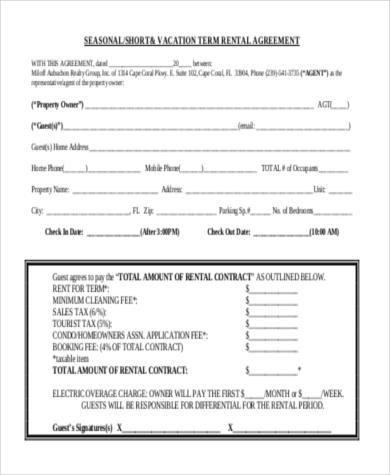 Rental Agreement Sample Form - 10+ Free Documents in Doc, PDF - sample short term rental agreement