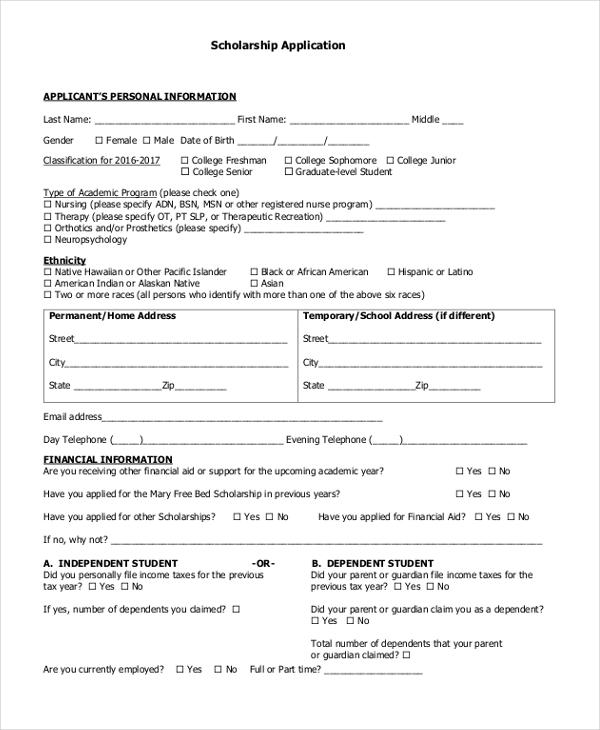 Sample Scholarship Application Form - 9+ Free documents in PDF - scholarship application form