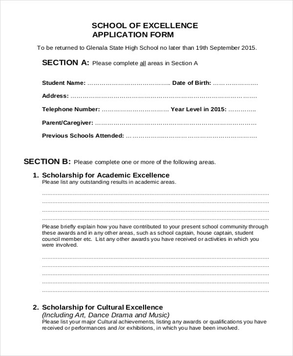 Sample School Application Form - 9+ Free Documents in PDF - application forms