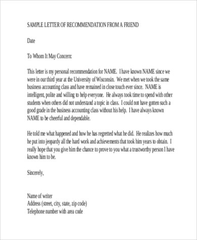 6+ Sample Recommendation Letter for a Friend - 8+ Free Documents in