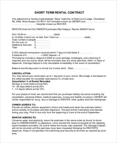 Sample Rent Contract Form - 9+ Free Documents in PDF, Doc - short term rental contract form