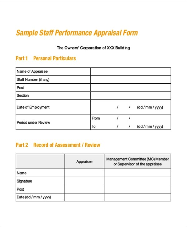 Sample Performance Appraisal Forms - Template Examples - employee appraisal form sample
