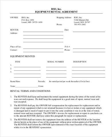 Sample Standard Rental Agreement Form - 8+ Free Documents in Doc, PDF - Equipment Rental Agreement