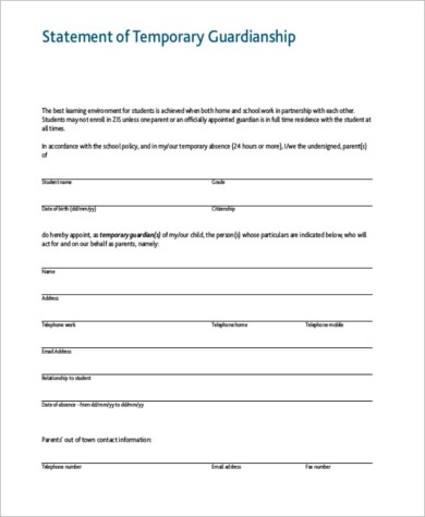 Temporary Guardianship Form Free  Resume Cover Letter For