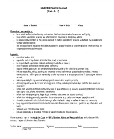 Sample Behavior Contract - 9+ Free Documents in Word, PDF - Student Contract Templates