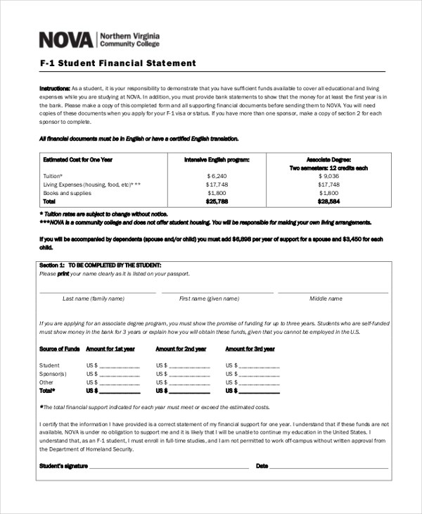 Sample Financial Statement Form - 10+ Free Documents in PDF - financial statement