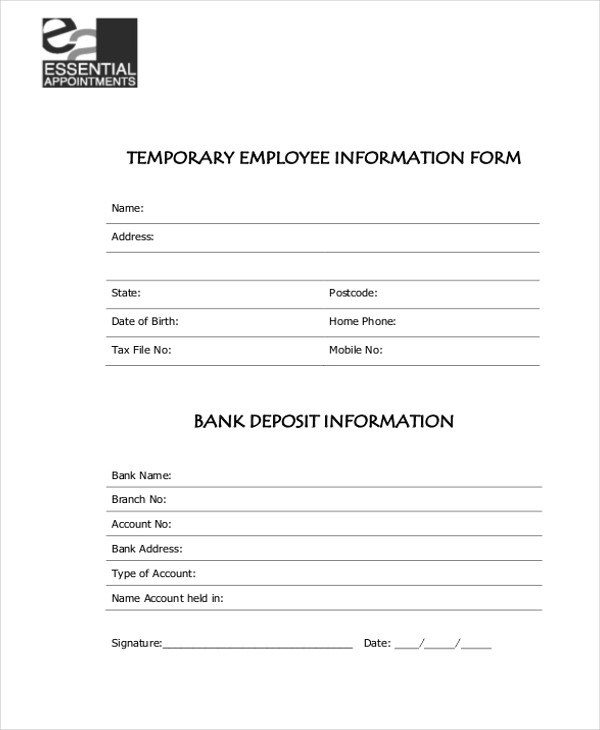 Employee Information Form Doc