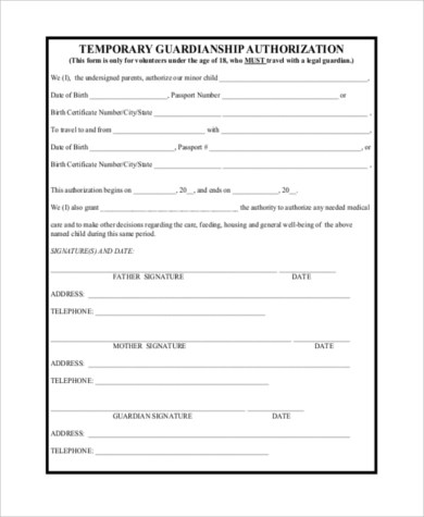 Temporary Guardianship Form Samples - 10+ Free Documents in Word, PDF - temporary custody form