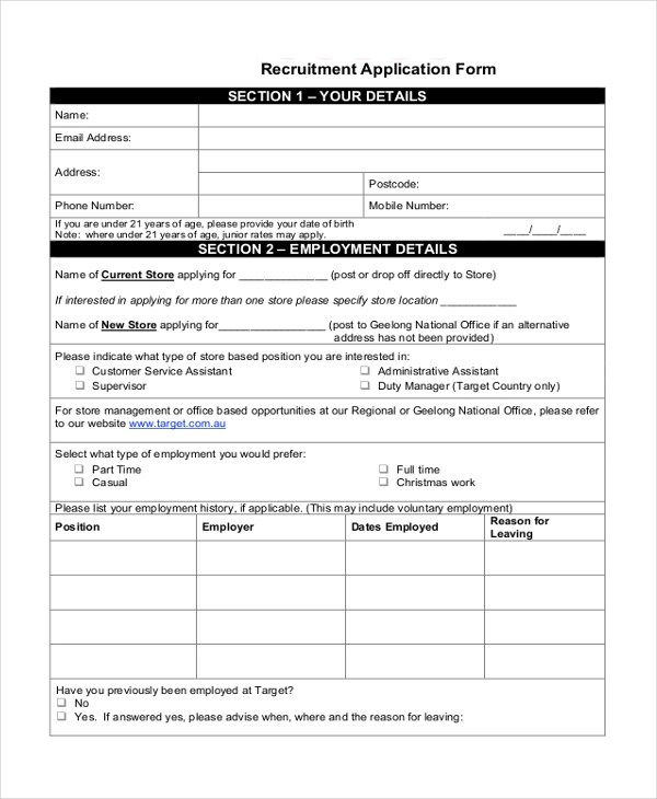 7+ Sample Target Application Forms - Sample, Example, Format - sample target job application