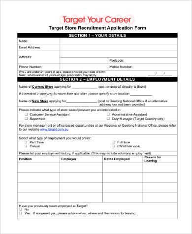 Sample Target Job Application - 9+ Free Documents in Word, PDF - target job application form