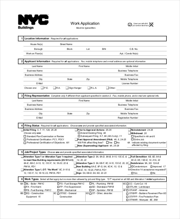 9+ Sample Work Application Forms - Free Sample, Example, Format - sample target job application