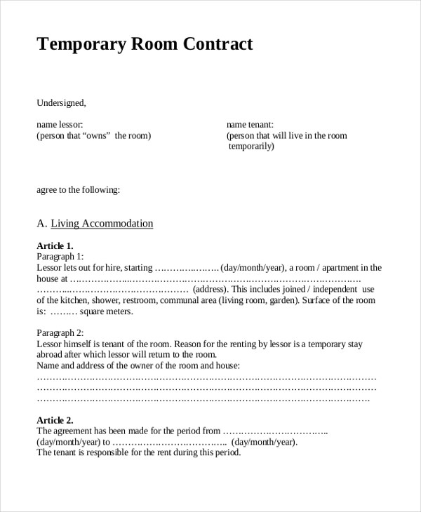 house rent format – House Rent Contract