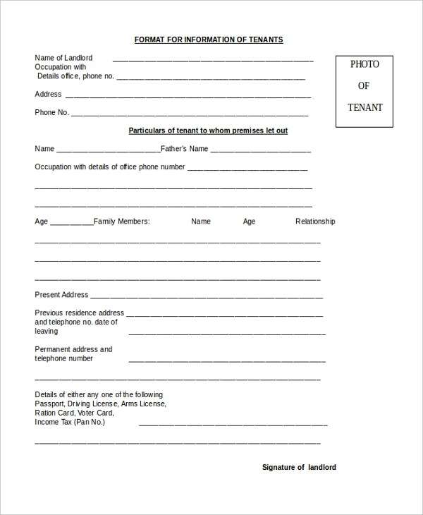 8+ Sample Tenant Application Forms - Sample, Example, Format - Tenant Information Form