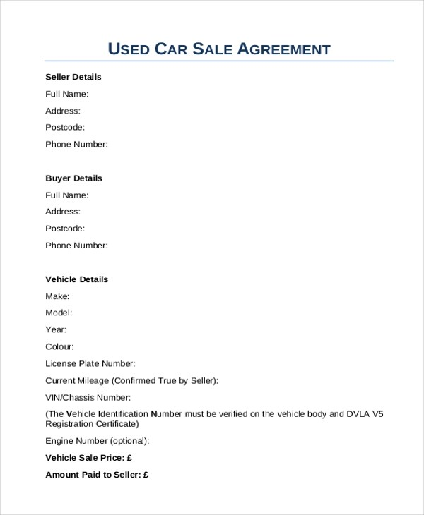 Sample Sales Agreement Form - 10+ Free documents in Doc, PDF - car sales contract sample