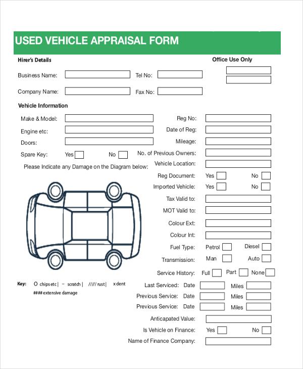7+ Sample Car Appraisal Forms - Sample, Example, Format