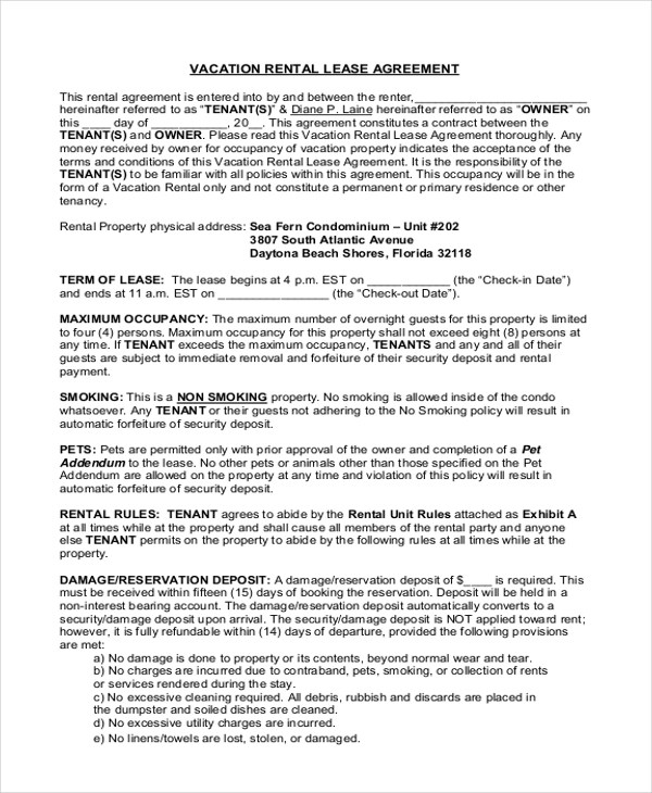 ... Blank Tenancy Agreement Template U2013 Vacation Rental Agreement Example ... Images