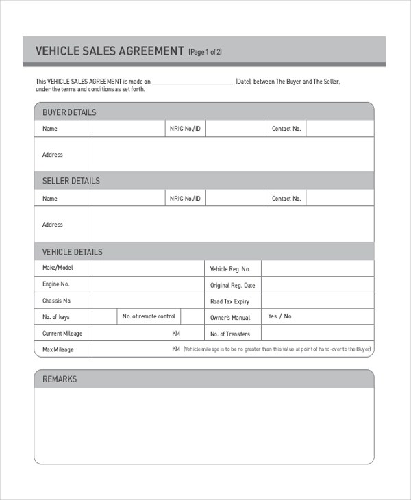 Auto Sales Contract Template Howtobillybullock - auto sales contract template