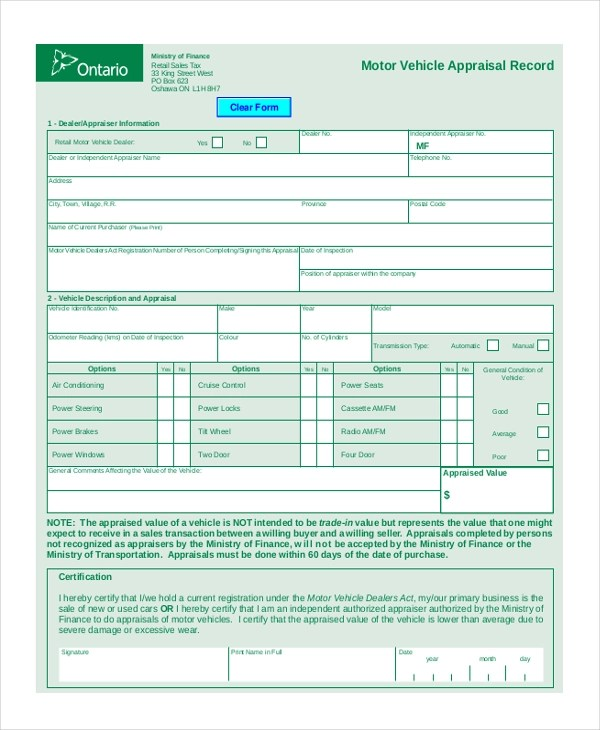 Appraisal Forms In Pdf Vehicle Appraisal Form Pdf Sample Vehicle - appraisal form in doc