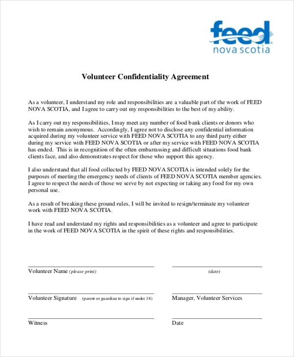 Sample Confidentiality Agreement Form - 9+ Free Documents in Doc, PDF - volunteer confidentiality agreement