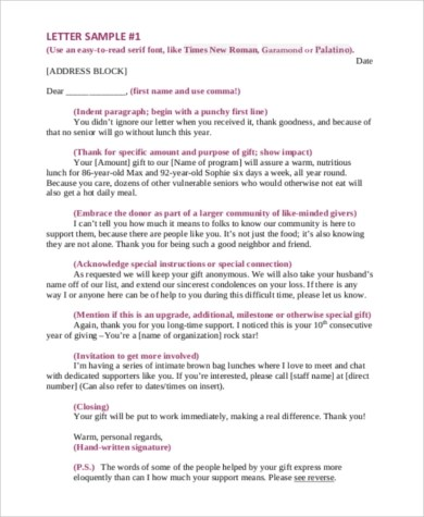 Sample Thank You Letter For Donation - 7+ Free Documents in Word, PDF - non profit thank you letter sample