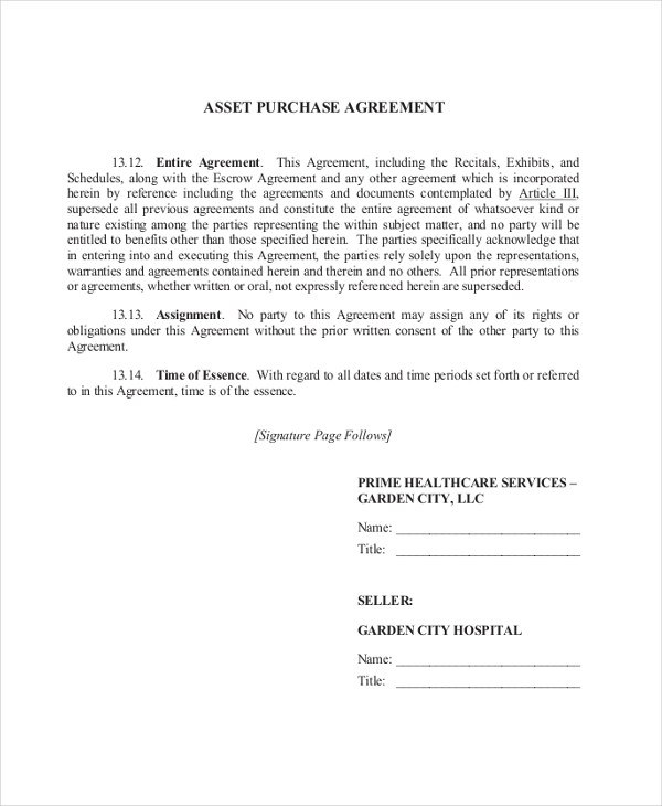 9+ Sample Purchase Agreement Forms - Sample, Example, Format - asset purchase agreement