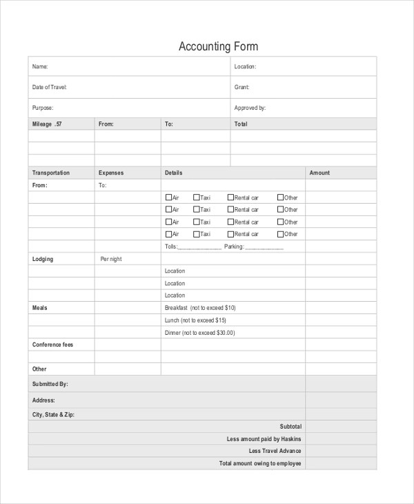 Sample Accounting Form - 9+ Free Documents in PDF, Doc