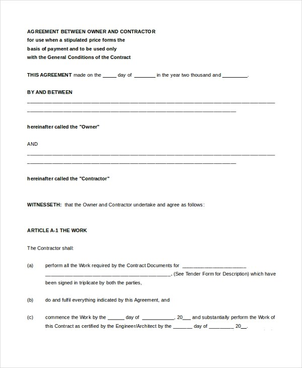 6+ Sample Contract Agreement Forms - Sample, Example, Format - two party contract template
