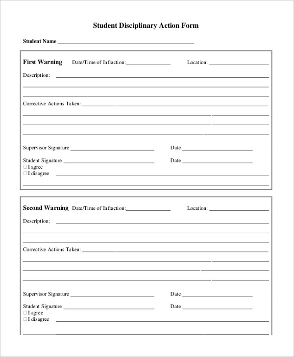 8+ Sample Disciplinary Action Forms - Free Sample, Example , Format