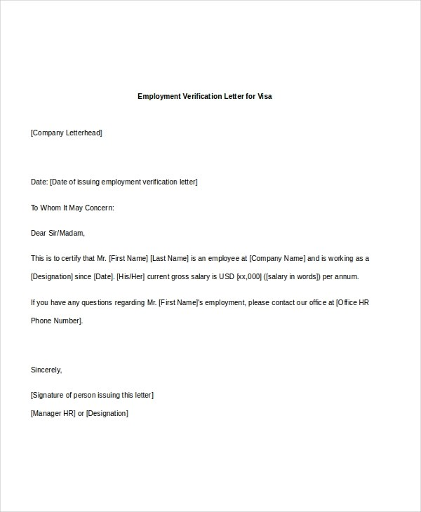 Employment Verification Letter Visa Stamping  Resume For German