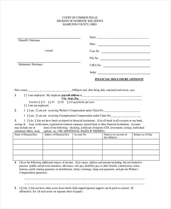 ohio affidavit form - Erkaljonathandedecker