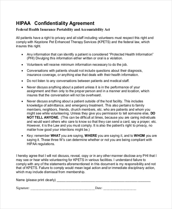Employee Confidentiality Agreement Medical  Create Professional