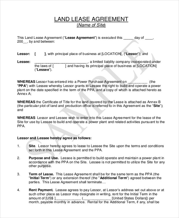 Printable Lease Agreement Form Sample - 10 + Free Documents in Doc - property lease agreement template