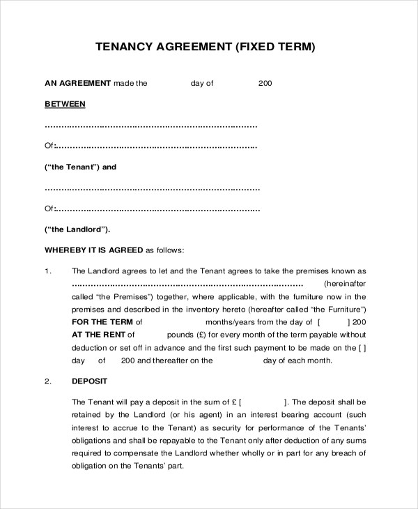 8+ Sample Tenant Agreement Forms - Sample, Example, Format