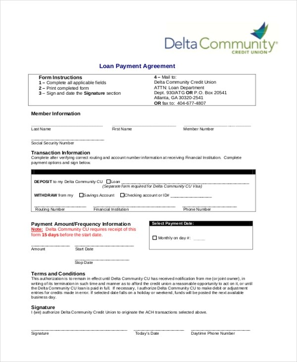 9+ Sample Loan Agreement Form - Sample, Example, Format - loan payment agreement template
