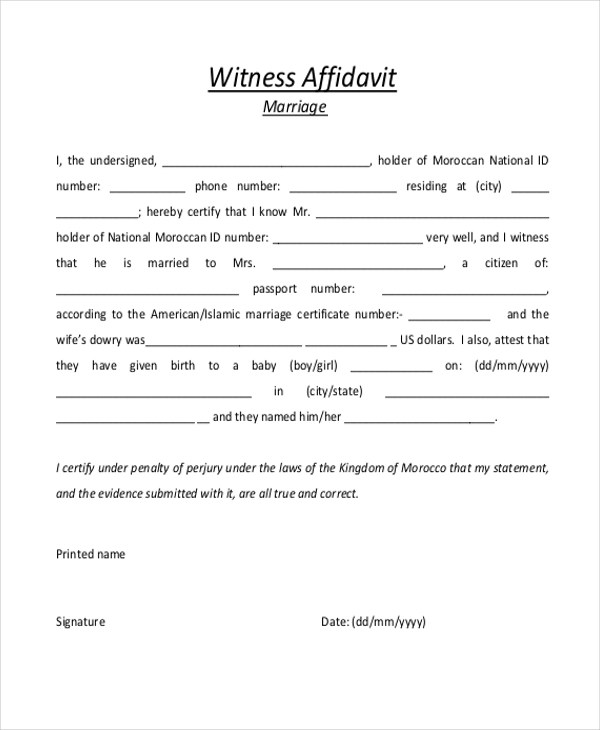 Sample Witness Affidavit Form - 8+ Free Documents in PDF, Doc - Affidavit Forms Free