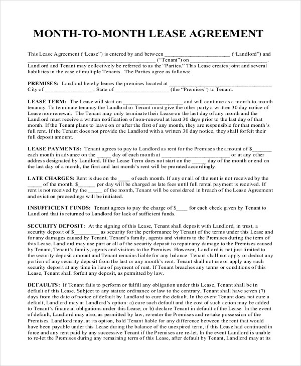 8+ Sample Month to Month Rental Agreement Forms - Sample, Example - month to month lease agreement example