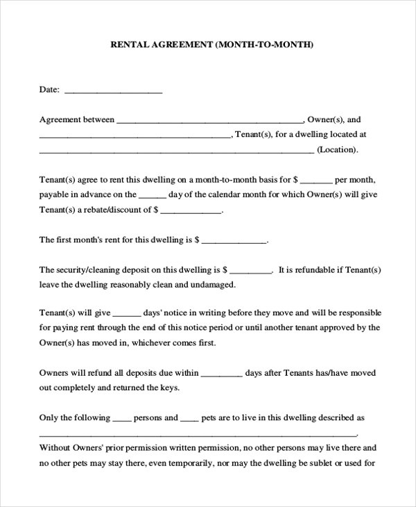 9+ Sample Room Agreement Forms - Sample, Example, Format - room rental agreement