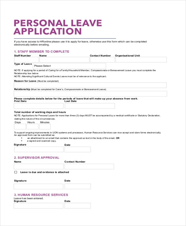 Leave Application School Application Format For Leave Nanny - format of leave application form