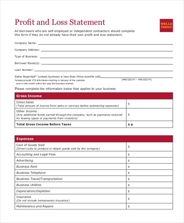 example of profit and loss statement for small business