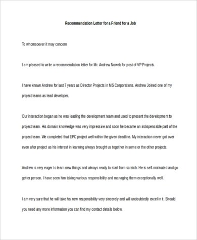 6+ Sample Recommendation Letter for a Friend - 8+ Free Documents in - reference letter