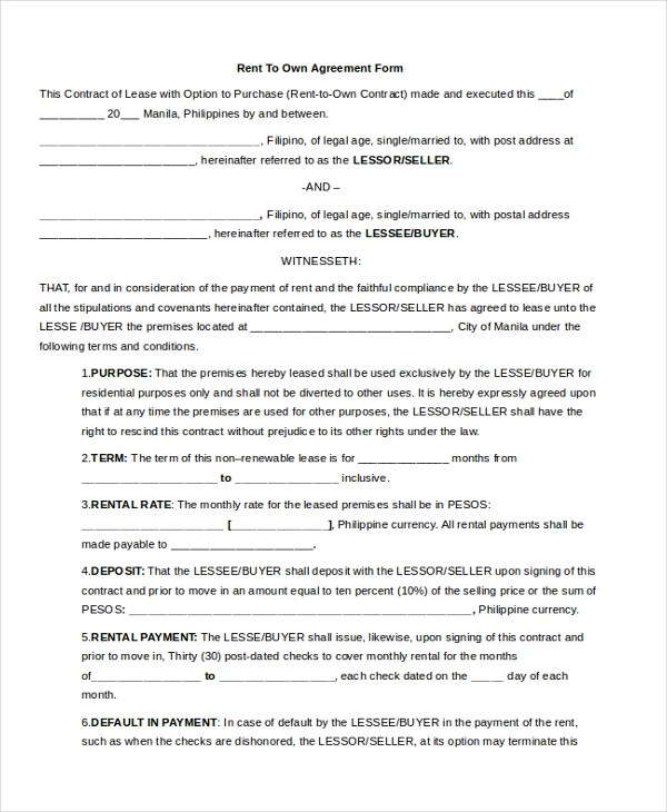 8+ Sample Rent Agreement Forms - Sample, Example, Format - Sample Rental Agreements
